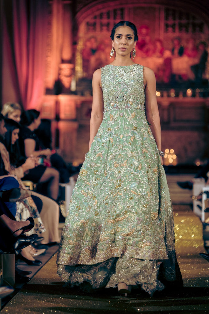 Tena Durrani - Mint Embellished Shirt With Lehnga