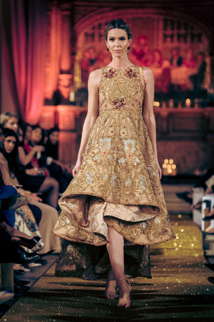 Tena Durrani - Embellished Gown With Asymetrical Hemline