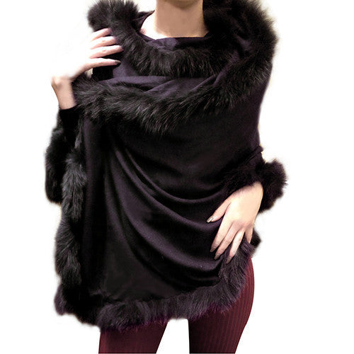 Amishi - Black Luxurious Cashmere & Fur Trimmed Scarf