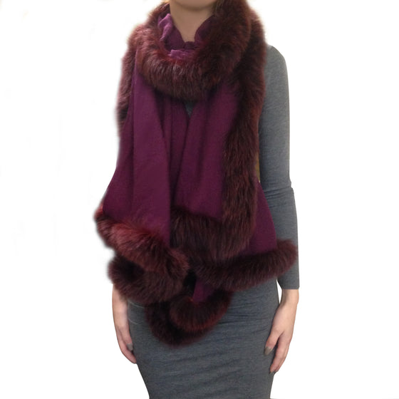 Amishi - Burgundy Luxurious Cashmere & Fur Trimmed Scarf