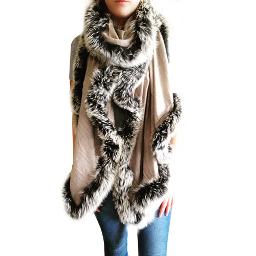 Amishi - Beige Black White Luxurious Cashmere & Fur Trimmed Scarf
