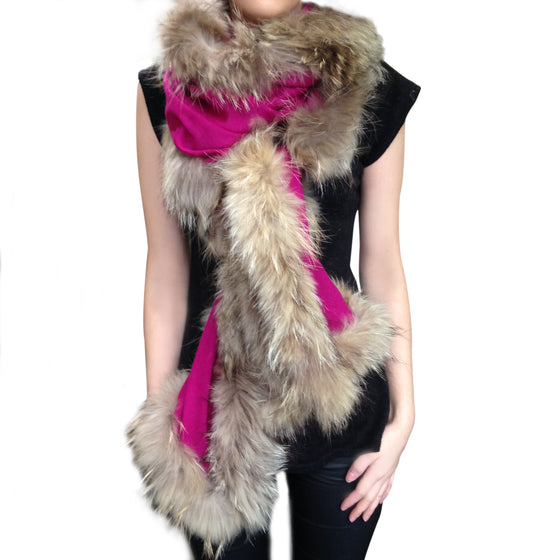 Amishi - Fuschia Luxurious Cashmere & Fur Trimmed Scarf