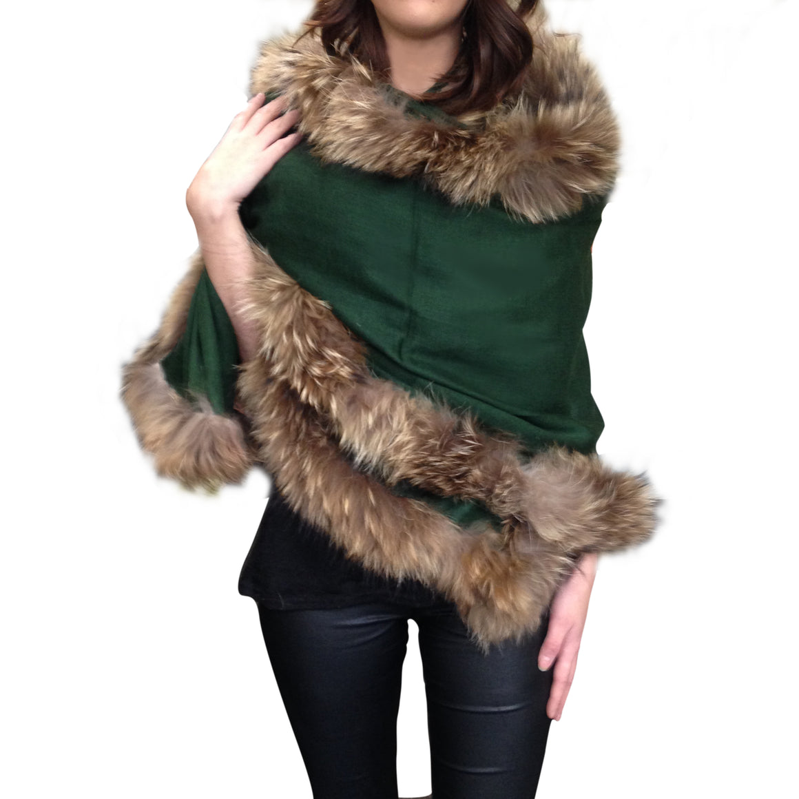 Amishi -  Green Beige Luxurious Cashmere & Fur Trimmed Scarf