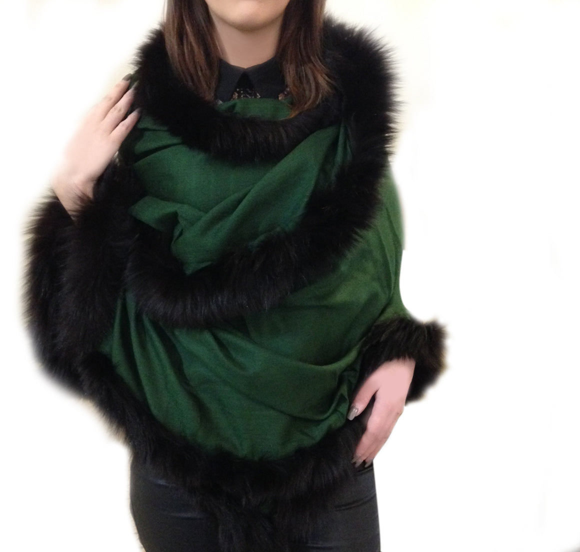 Amishi - Green Black Luxurious Cashmere & Fur Trimmed Scarf