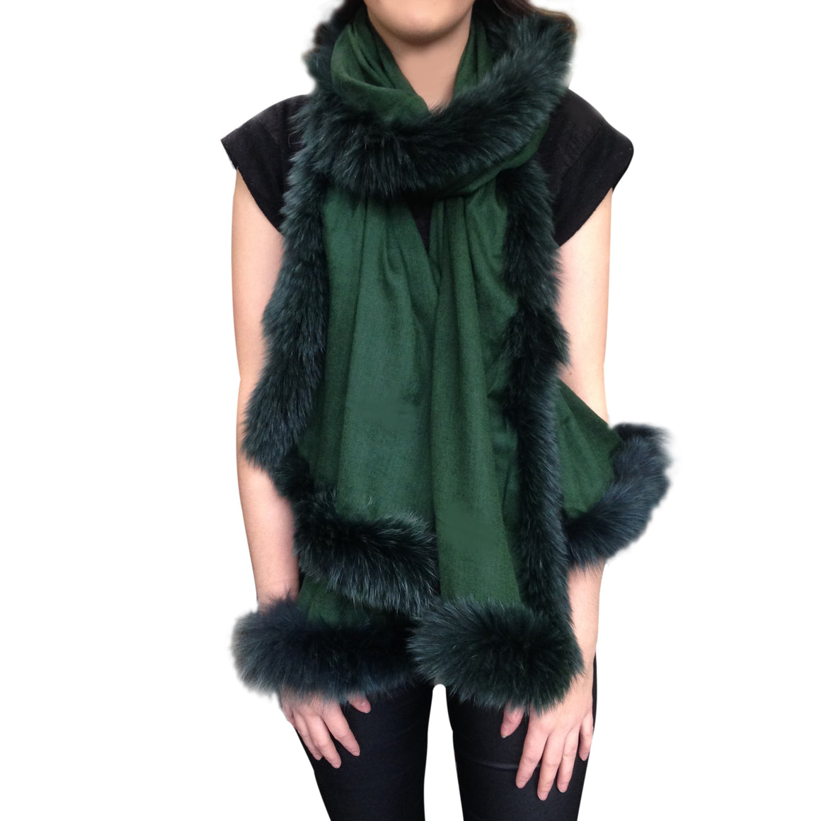 Amishi - Green Luxurious Cashmere & Fur Trimmed Scarf
