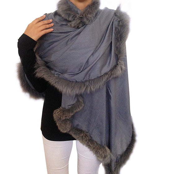 Amishi - Ice Grey Luxurious Cashmere & Fur Trimmed Scarf