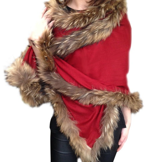 Amishi - Red Beige Luxurious Cashmere & Fur Trimmed Scarf