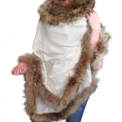 Amishi - White Beige Luxurious Cashmere & Fur Trimmed Scarf