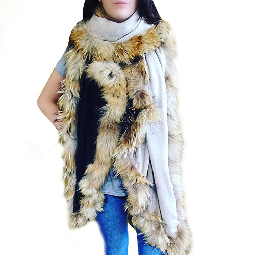 Amishi - Beige Black Luxurious Cashmere & Fur Trimmed Scarf