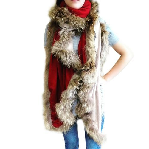 Amishi - Beige Red Luxurious Cashmere & Fur Trimmed Scarf