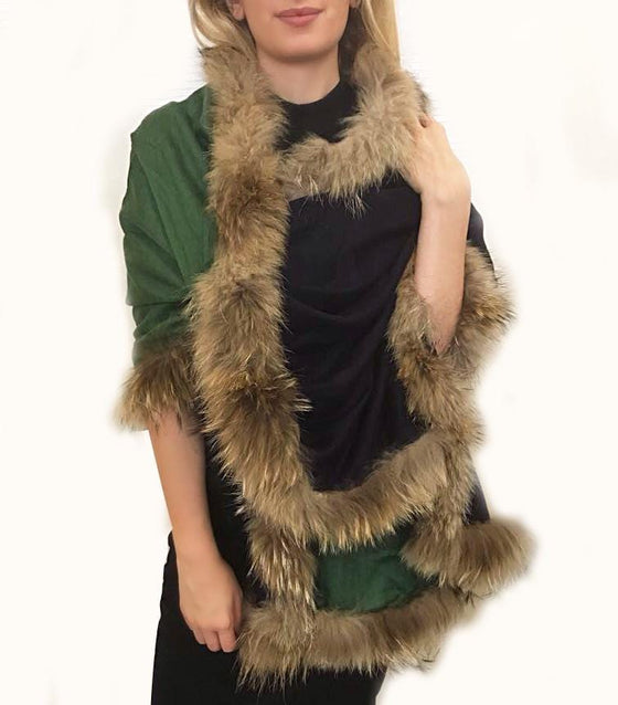 Amishi - Navy Green Luxurious Cashmere & Fur Trimmed Scarf