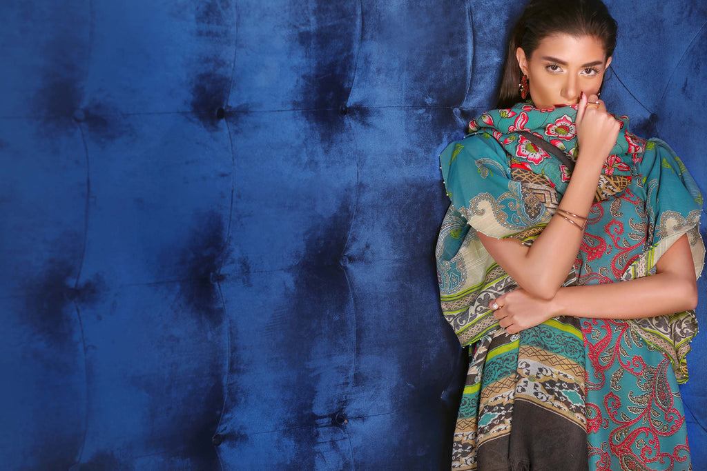 Alkaram Studio - Aqua Khaddar Dress