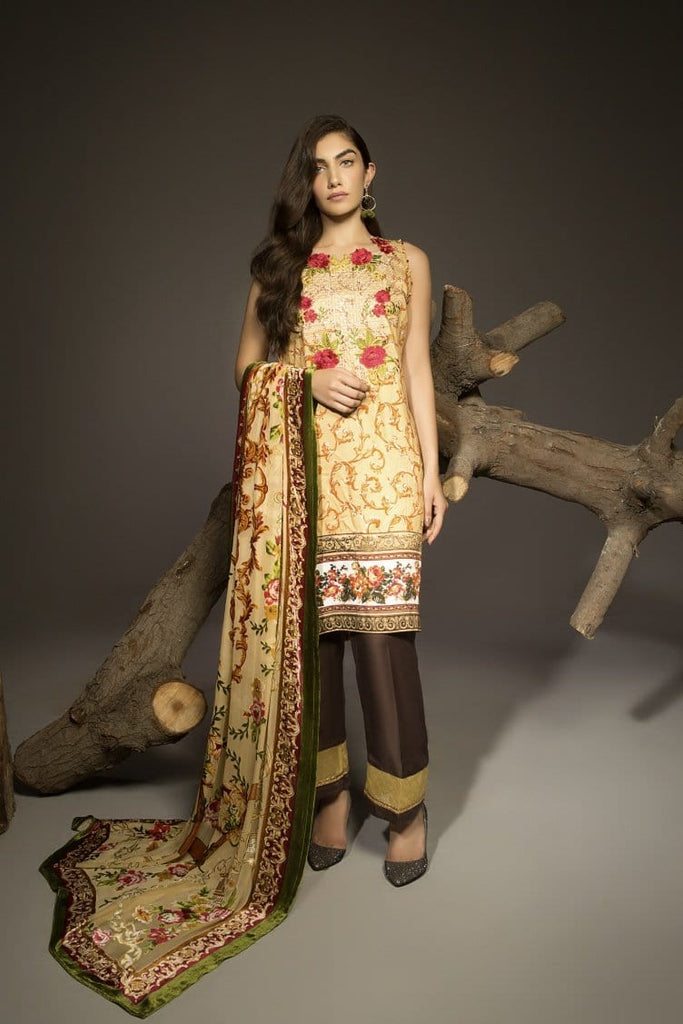 Alkaram Studio - Beige Twill Viscose Embroidered Suit Clearance Sale