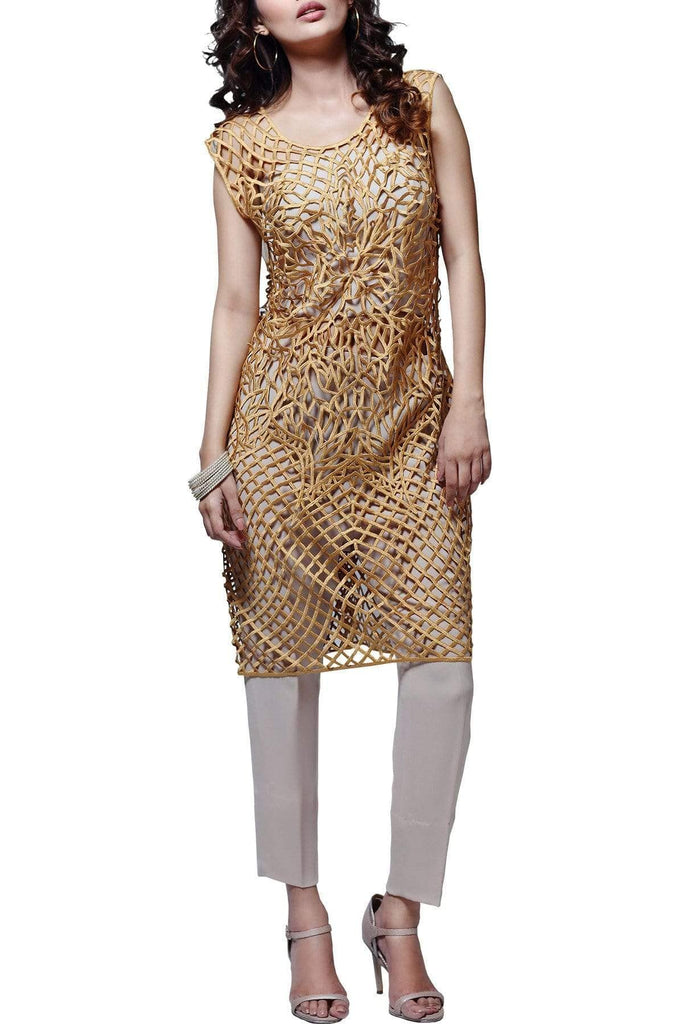 Natasha Kamal - Fire Orchid Florex Gold Shirt With Georgette Pants & Dupatta
