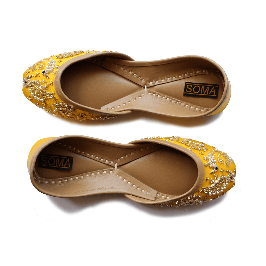 Soma flamincino yellow hand crafted footwear for Handcrafted or hand crafted