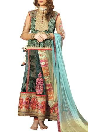 Shamaeel - Hand Embroidered Silk Gold Lehenga In Textured Velvet