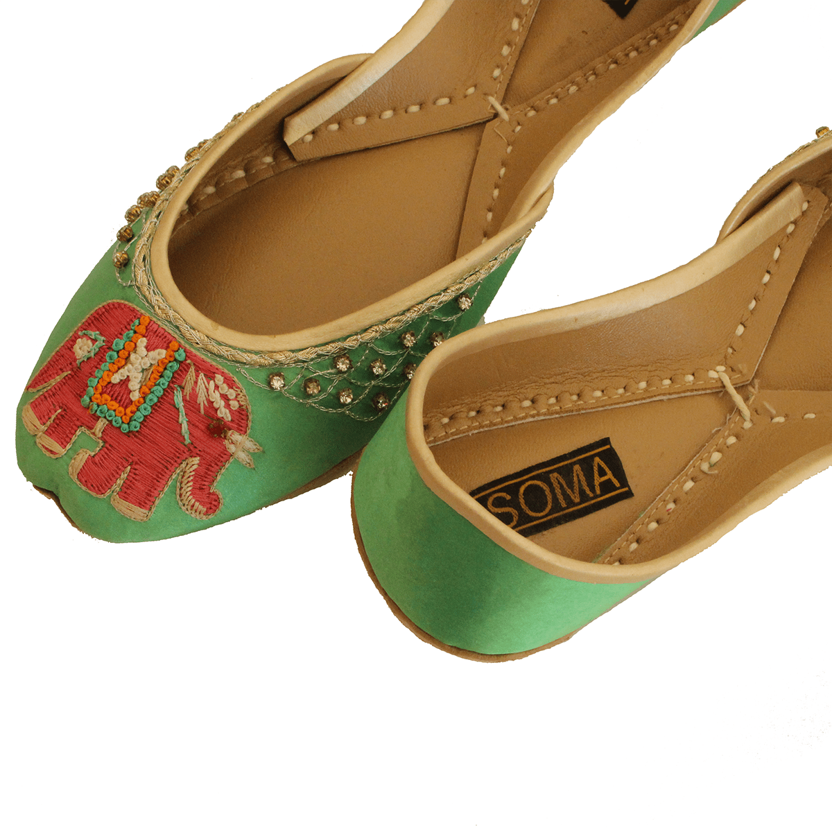 Soma green elli hand crafted footwear for Handcrafted or hand crafted