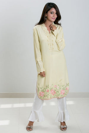 Mehr - Green Pure cotton silk embroidered shirt