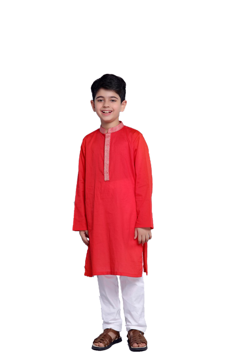 Hopscotch-Red Geometric Kurta