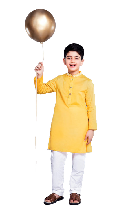 Hopscotch-Yellow Must-Have Mustard Kurta
