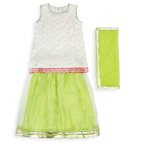 Hopscotch-White, Green And Pink Three Piece Lehnga Set