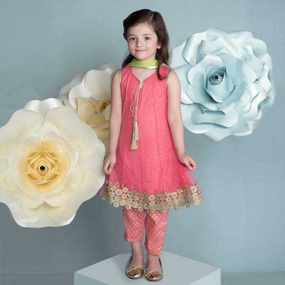 Hopscotch - Pink Glittered Net Kameez & Pant Clearance Sale