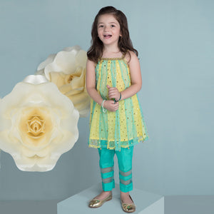 Hopscotch - Multi-Colored Net Girl Kameez And Pants - Clearance Sale