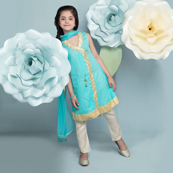 Hopscotch - Jacquard Girl Angrakha, Pants And Dupata Clearance Sale