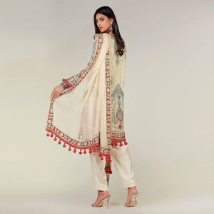 Rizwan Beyg - Multi-Colored Crewel Work Cotton-Silk Pink Shirt with Dupatta