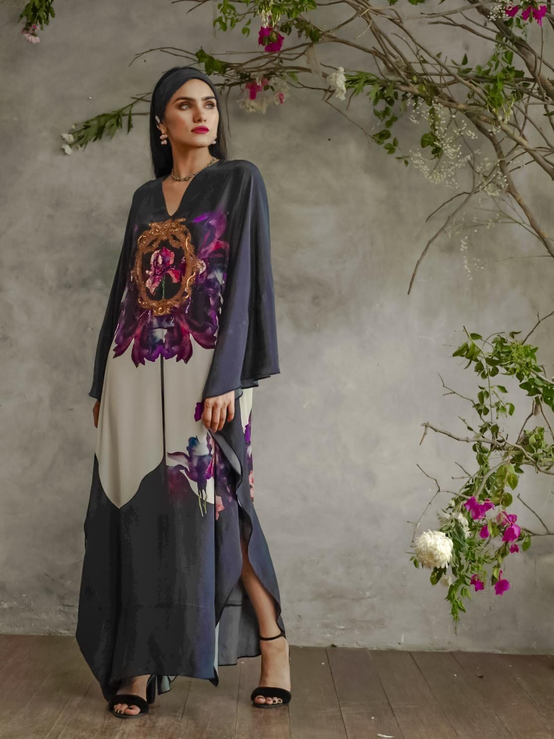 Shamaeel - Purple Flower Kaftan