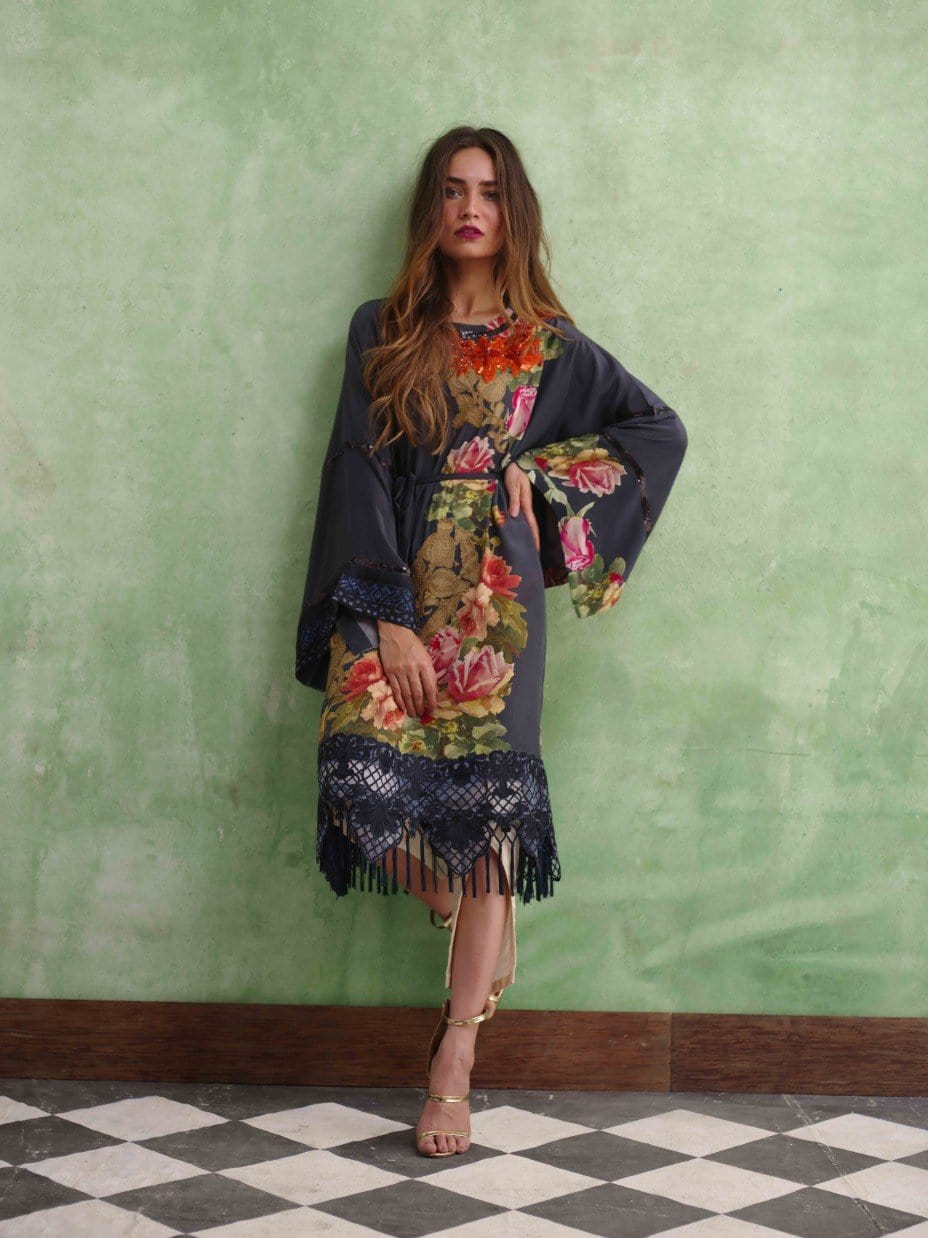 Shamaeel - Drop Shoulder Printed Silk Tunic