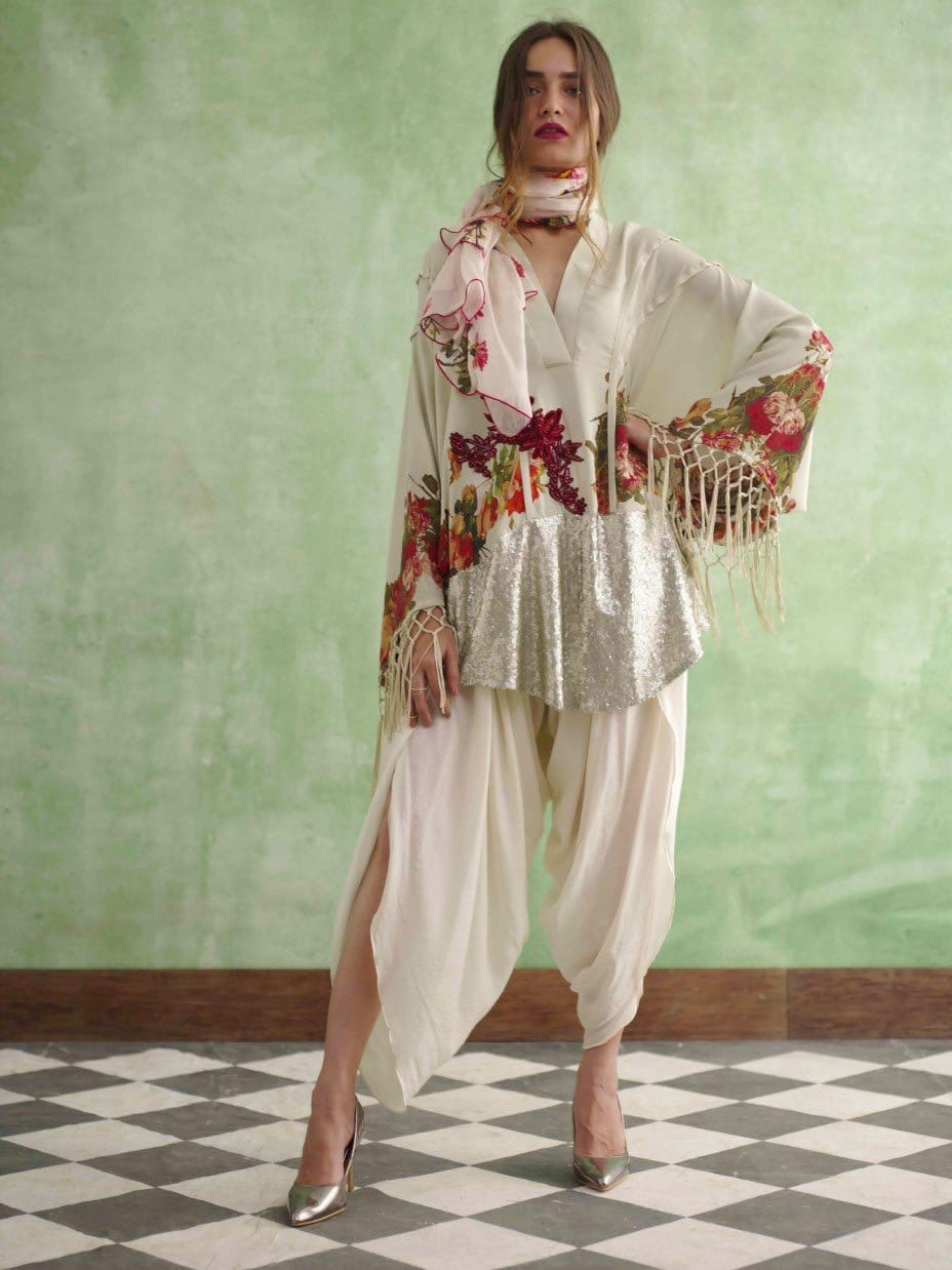 Shamaeel - Printed Tunic with Kaftan Sleeves
