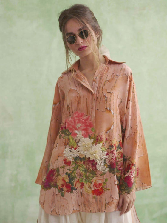 Shamaeel - Floral Textured Tunic With Organza & Embroidery