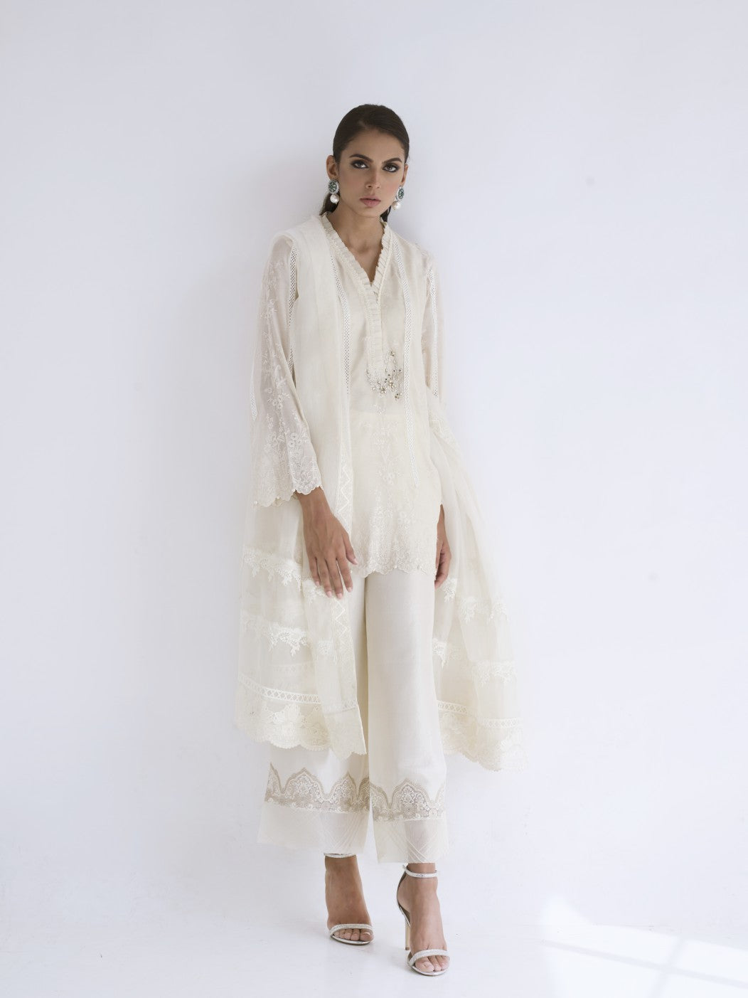 Sania Maskatiya - Cotton Net Embroidery Short Shirt