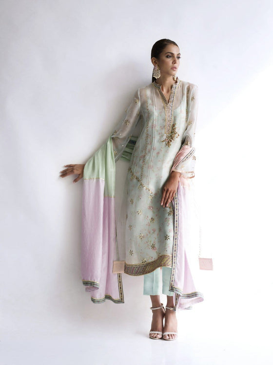 Sania Maskatiya - Organza Kurta with Kamdani Sleeves