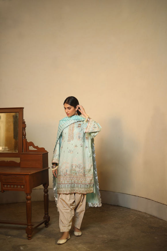 Alkaram Studio - Blue 3 Piece Embroidered Suit With Jacquard Dupatta