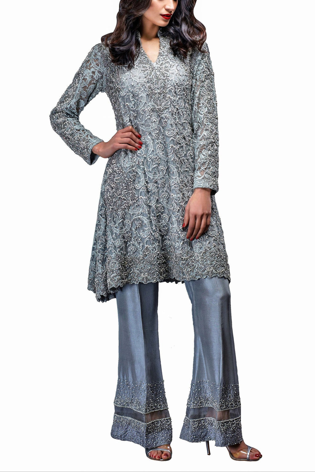 HSY - Ice Blue Peplum Shirt With Bell Bottom Silk Trousers