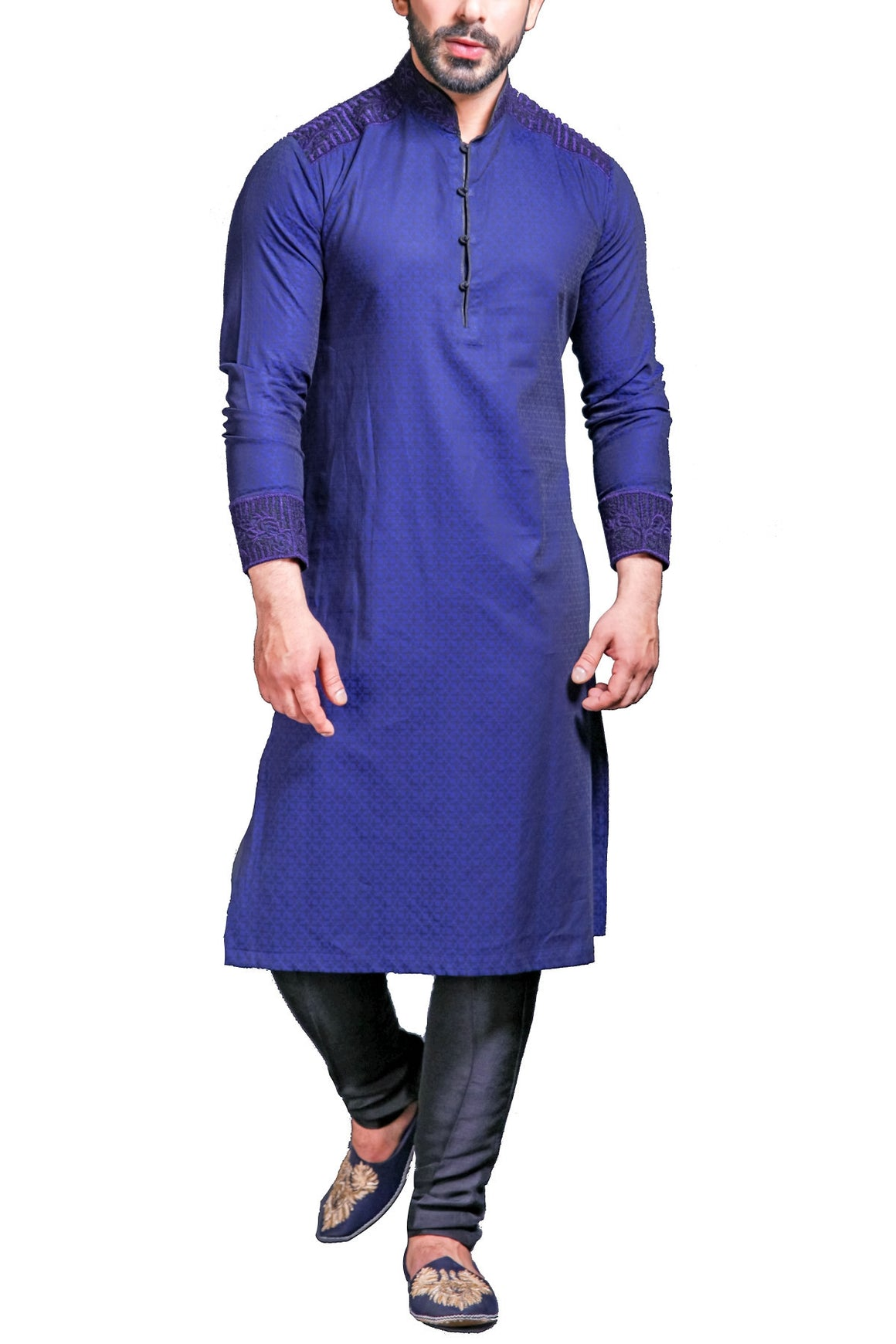 HSY - Blue Lightly Embroidered Cotton Kurta