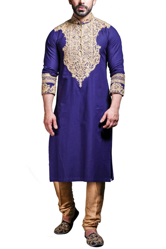 HSY - Blue Embroidered Cotton Kurta