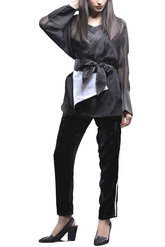 HSY - Black Organza Shirt With Velvet Trousers