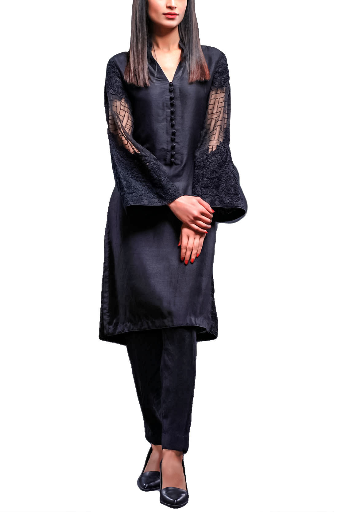HSY - Black Embroidered Organza Shirt With Straight Trousers