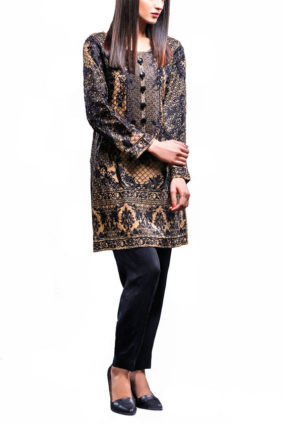 HSY - Gold Embroidered Organza Shirt With Straight Trousers
