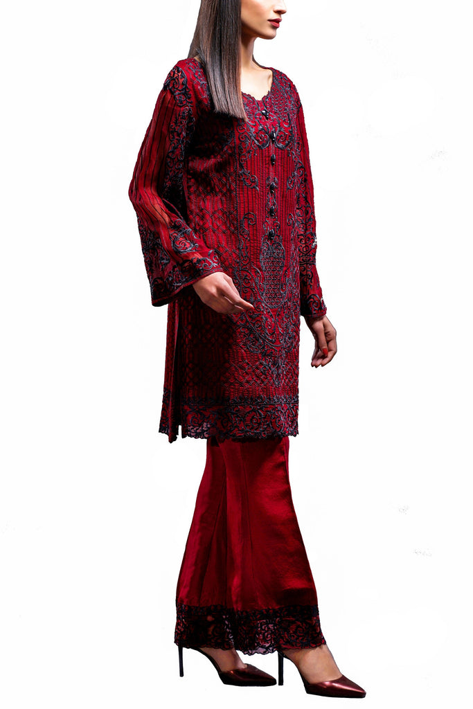 HSY - Red Embroidered Organza Shirt With Bell Bottom Trousers