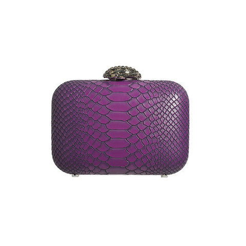 Amishi - Amishi - Purple Python Design Print Clutch