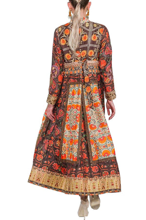 Shamaeel - Hand Embroidered Long Silk Coat With Silk Inner