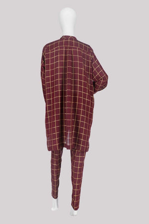Waqar J Khan - Maroon Bell Uga Design - 1 PC
