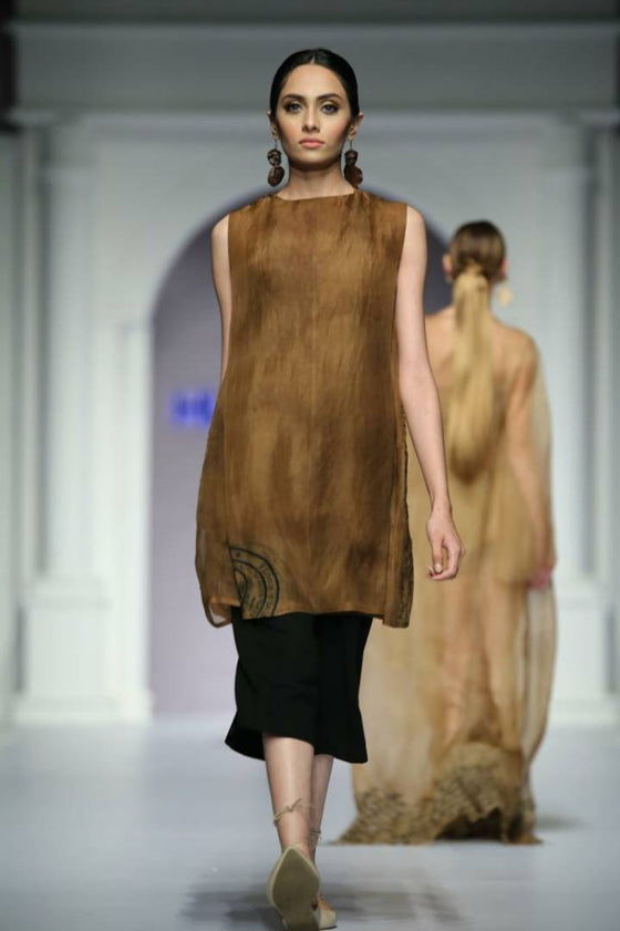 HSY - Fresh Off The Runway - Brown Straight Organza Embroidered Shirt