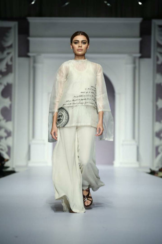 HSY - Fresh Off The Runway - Ivory Organza Layered Shirt With Georgette Trousers