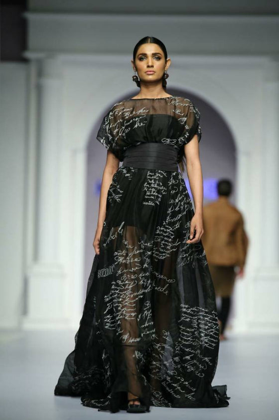HSY - Fresh Off The Runway - Black Organza Embroidered Gown