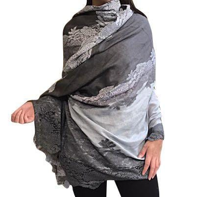 Amishi - Light Grey Shaded Vera Lace Scarf